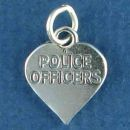 Police Officers Word Phrase on Heart Sterling Silver Charm Pendant