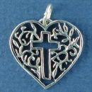 Heart with Filagree Design and Cut Out Cross Sterling Silver Charm Pendant