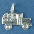 School Bus Sterling Silver Charm Pendant add to a Charm Bracelet