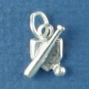 Baseball Bat, Baseball and Homeplate Sports Sterling Silver Charm Pendant