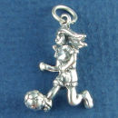 Soccer Player Female Kicking Soccer Ball Sports Sterling Silver Charm for Bracelet
