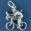 Bicycle with Female Bike Rider 3D Sterling Silver Charm for Charm Bracelet