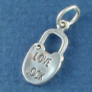 Love Lock Moveable with Word Phase Sterling Silver 3D Charm Pendant