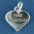 Fire Fighters Word Phrase on Heart Sterling Silver Charm Pendant