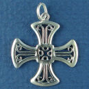 Cross with Filigree Design 3D Sterling Silver Charm Pendant