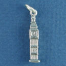Tour: Big Ben Clock 0f London 3D Sterling Silver Charm Pendant