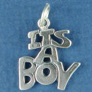 Baby: Its A Boy Sterling Silver Charm Pendant