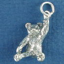 Toy Teddy Bear Charm with Arm in the Air Sterling Silver Pendant