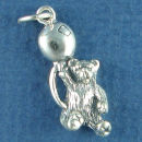 Teddy Bear Charm with Balloon Sterling Silver Pendant
