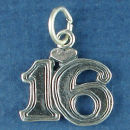 Sweet 16 with Heart Birthday Sterling Silver Charm Pendant