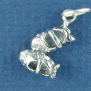 Baby or Child's Maryjane Shoes 3D Sterling Silver Charm Pendant
