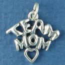 Team Mom with Open Heart Sports Sterling Silver Charm Pendant