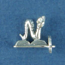 School Book Worm Child's 3D Sterling Silver Charm for Charm Bracelet or Necklace