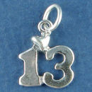 Jewish Bat Mitzvah 13 with Heart Sterling Silver Charm Pendant Perfect for a Charm Bracelet