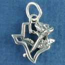 Texas State Outline with Rose Flower Sterling Silver Charm for Charm Bracelet