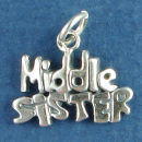 Sister, Middle Word Phase Sterling Silver Charm Message Pendant