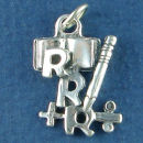 School 3 R's Children's Book, Pencil, Plus and Division Sign Sterling Silver Charm Pendant