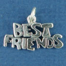 Best Friends Word Charm and Message Phrase Sterling Silver Charm Pendant