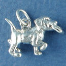 Dog with News Paper 3D Sterling Silver Charm Pendant