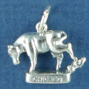 Tour: Chicago Fire Cow Kicking Over a Lantern 3D Sterling Silver Charm Pendant
