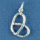 Pretzel 3D Food Sterling Silver Charm Pendant use on a Charm Bracelet