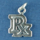 R/X Medical Pharmacist Perscription Symbol Sterling Silver Charm Pendant