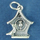 Clock Cuckoo Style with Bird 3D Sterling Silver Charm Pendant