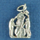 Christmas Snowman with Children 3D Sterling Silver Charm for Bracelet