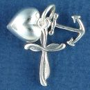 Faith, Hope and Charity with Cross Puffed Heart and Anchor as 3D Sterling Silver Charm Pendants