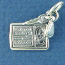 Driver License Woman with Set of Car Keys Sterling Silver Charm Pendant