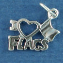 I Love Flags with Heart School Sterling Silver Charm for Charm Bracelet