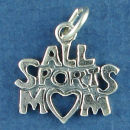 Mom All Sports Charm Sterling Silver