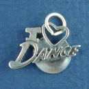 Dance, I Love with Heart Word Sterling Silver Charm Pendant