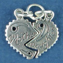 Heart Split with Mother on one Half and Daughter on the other Half Sterling Silver Charm