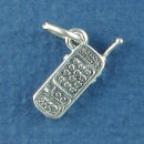 Telephone - Cellphone 3D Sterling Silver Charm Pendant