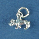 Dog, Bulldog Small 3D Sterling Silver Charm Pendant add to a Charm Bracelet