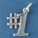 Number 1 Charm Sterling Silver Pendant