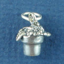 Flowers in Pot 3D Gardening Charm Sterling Silver Pendant