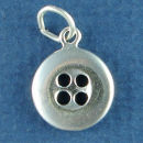 Button for Sewing on Clothing 3D Sterling Silver Charm Pendant