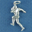 Football Player Running with Ball Sterling Silver Charm Pendant