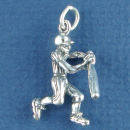 Baseball Player with Bat Sports Sterling Silver Charm Pendant