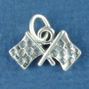Racing Flags Sterling Silver Charm Pendant
