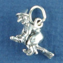 Halloween Witch Riding a Broomstick 3D Sterling Silver Charm Pendant