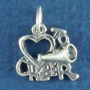 Cheerleader, Love Heart To Cheer with Megaphone Sterling Silver Charm Pendant