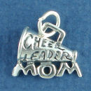 Cheerleader Mom and Megaphone Word Phrase Sterling Silver Charm Pendant