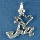 Music: I Love Jazz with Saxophone and Heart Sterling Silver Charm Pendant