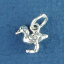 Duck Small Bird 3D Sterling Silver Charm Pendant