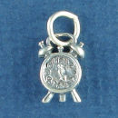 Clock, Alarm Style 3D Sterling Silver Charm Pendant