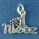 #1 Niece Word Sterling Silver Charm Pendant