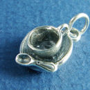 Tea Cup Saucer with Spoon 3D Sterling Silver Charm Pendant